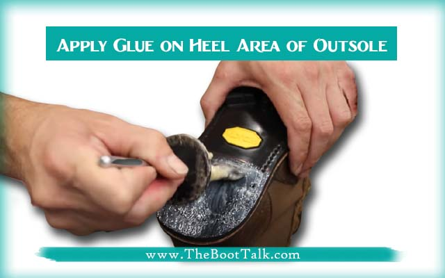 apply glue on heel area of outsole