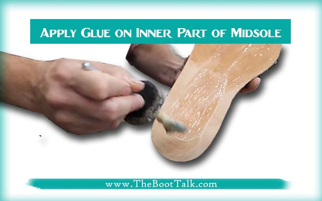 apply glue on inner side of midsole