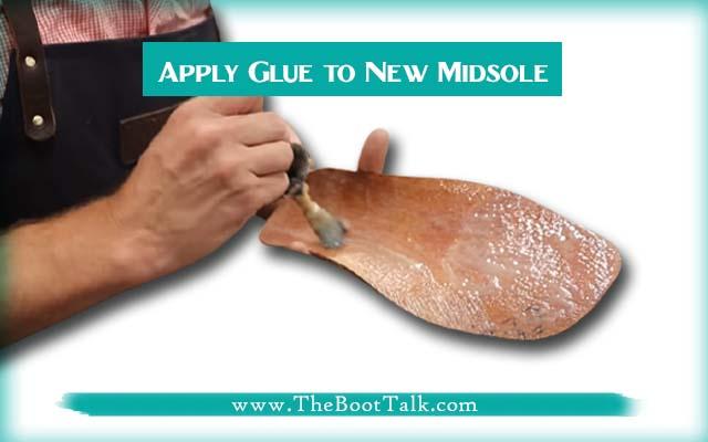 apply glue to new midsoles