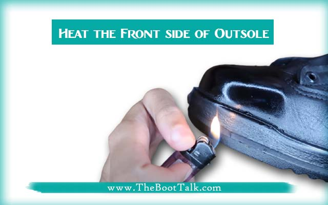 heat the front outsole of boots to bring mirror shine
