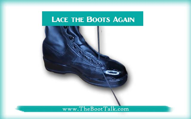 lace the boots after mirror shine