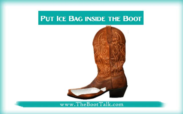 put ice bag inside the boot
