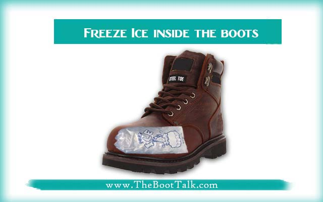 Freeze ice inside the boots