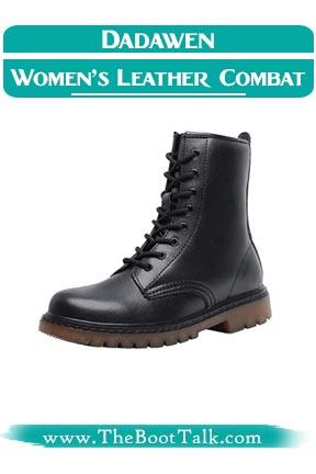 DADAWEN Women Fashion Leather Waterproof Combat Boots