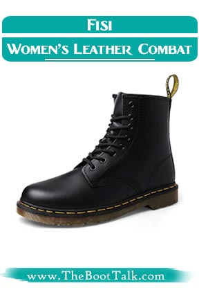 Fisi Women's Leather Look Like of Doc Martens Combat Boots